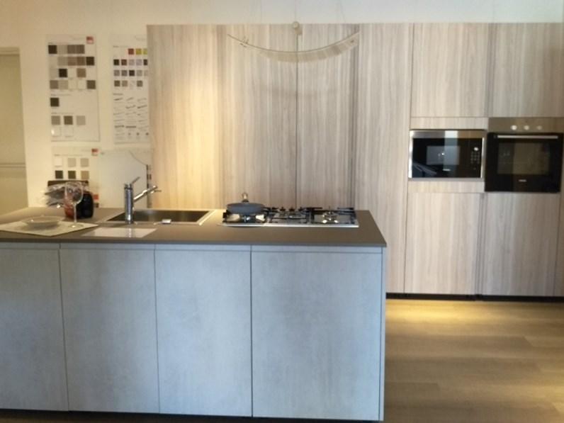 Cucina Volumia jungle cemento moderna grigio ad isola Febal