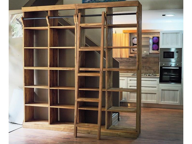 Libreria nature in legno massello india con scala in