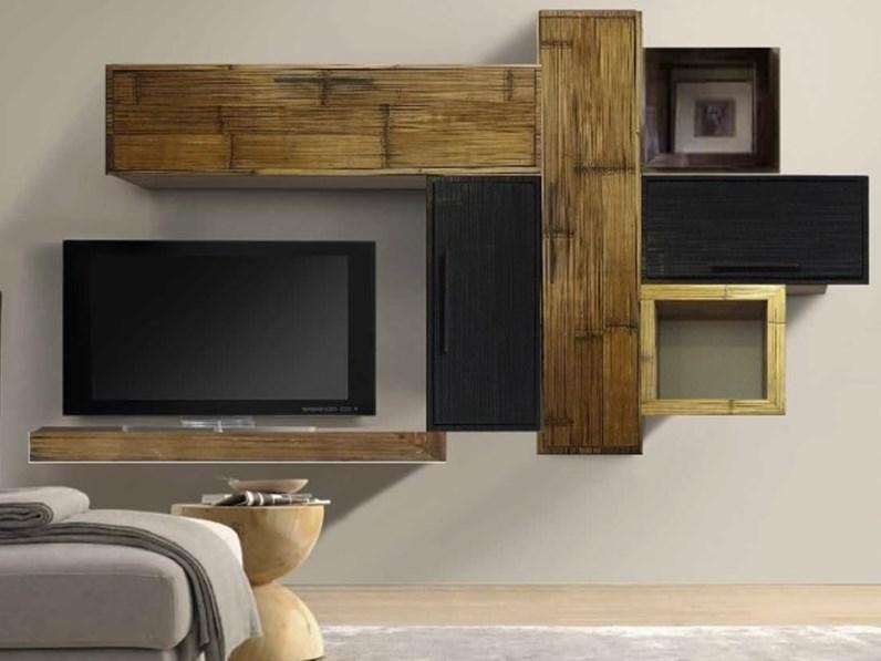 mobile etnico parete soggiorno moderno sospeso in legno e