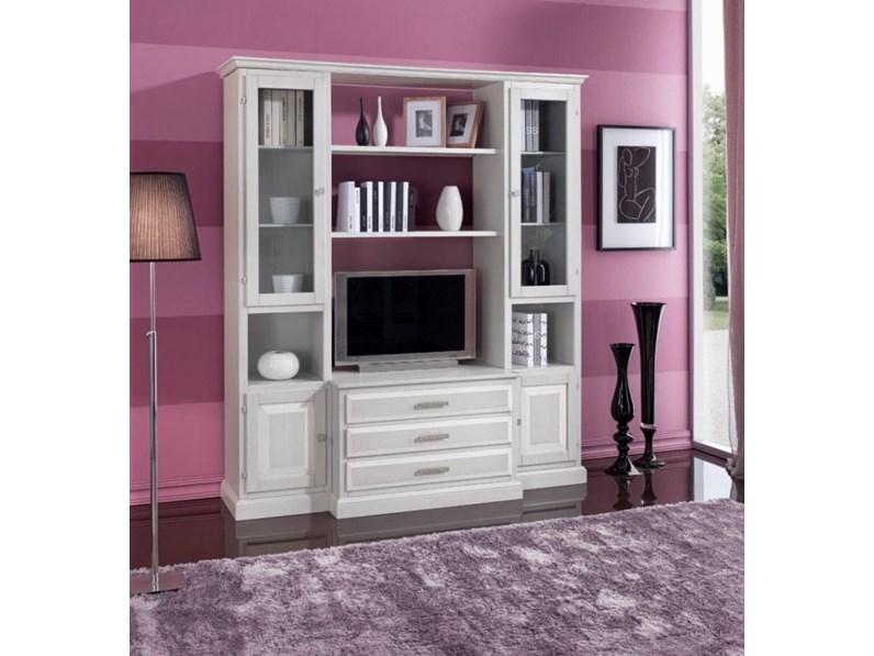 Mobile soggiorno in legno stile classico in decap bianco