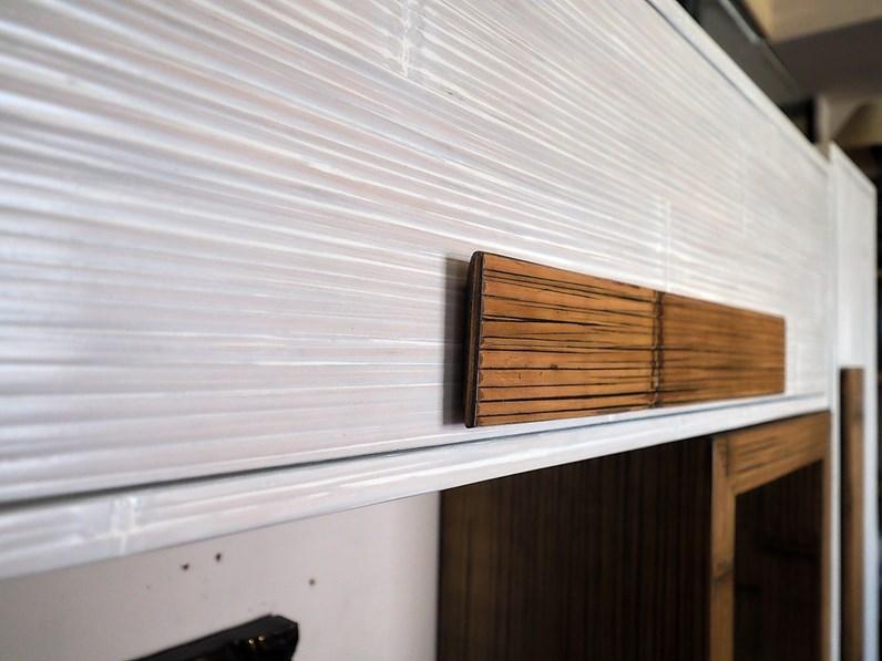 Parete attrezzata Soggiorno minimal etnico bambu white e miele Outlet etnico in legno in Offerta