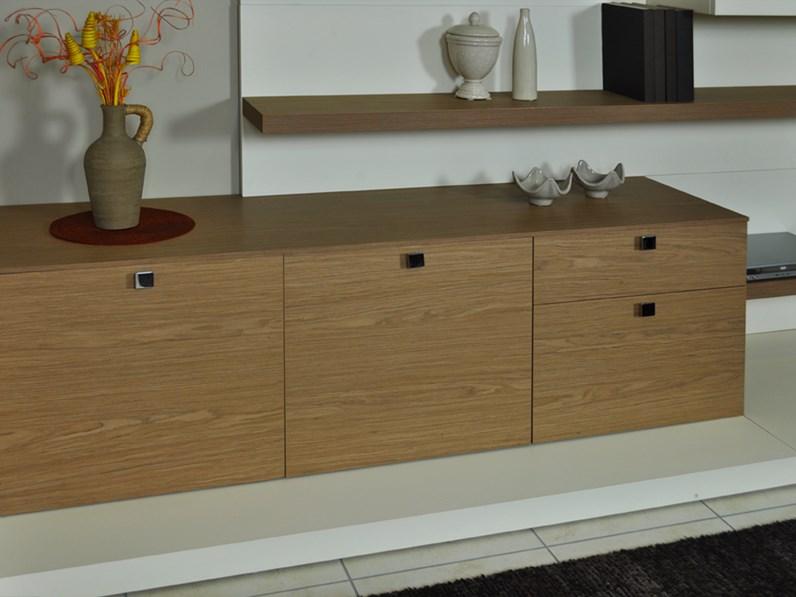 Parete soggiorno attrezzata porta tv legno e laccato scontata  Soggiorni a prezzi scontati