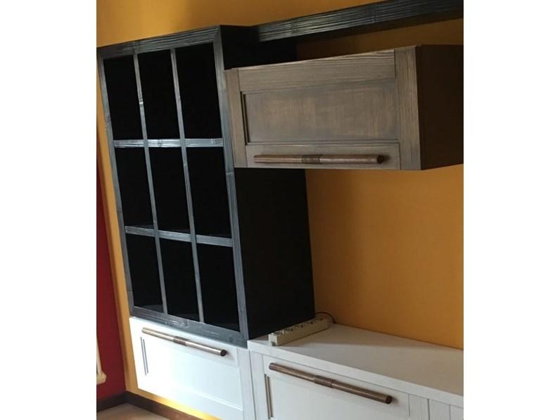 soggiorno in legno vintage white chic e bambu black in