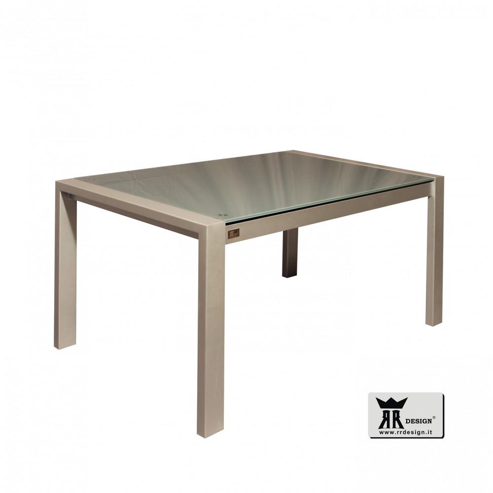 Tavolo moderno allungabile in vetro temperato Leo della