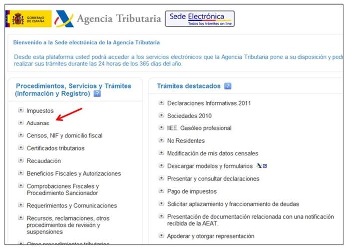 gestión del Dua Agencia Tributaria