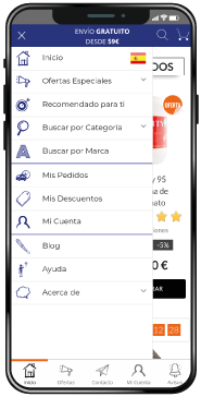 Interfaz de la nueva aplicación de Outletsalud