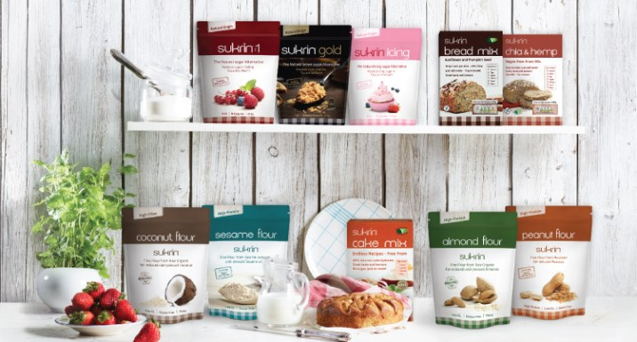 Gama de productos Sukrin, preparados, edulcorantes, hrainas, siropes