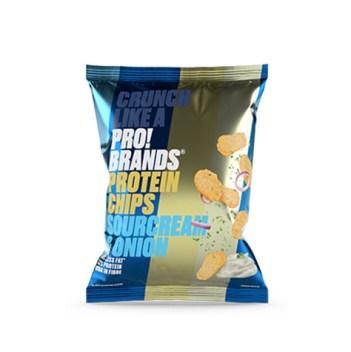 chips proteicas de crema agria y cebolla