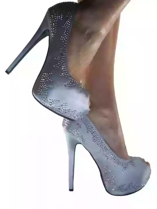 scarpe online decollete grigio strass