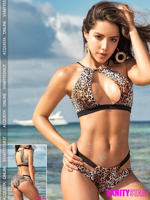 Bikini leopardato scollato Shiraya