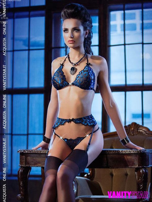 Completo blu con reggicalze Tekla