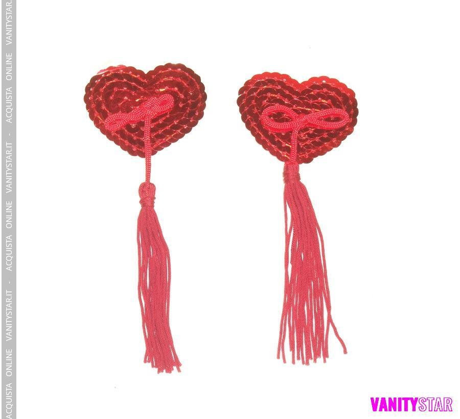 Copricapezzoli  paillettes rosse con nappa rossa