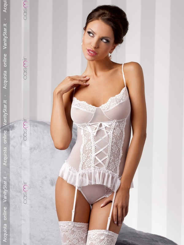 Guepiere in pizzo e tulle Marcelle White