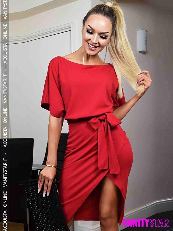 Elegante abito con spacco Judith Red