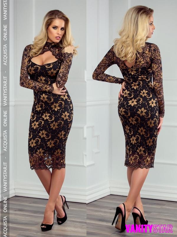 Elegante abito in pizzo Flame Black Gold