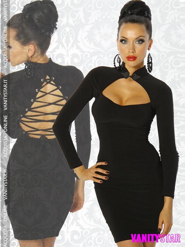 Elegante abito scollato Raquel Black