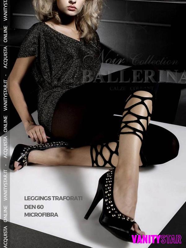 Leggings a vita bassa con intagli 022 Black