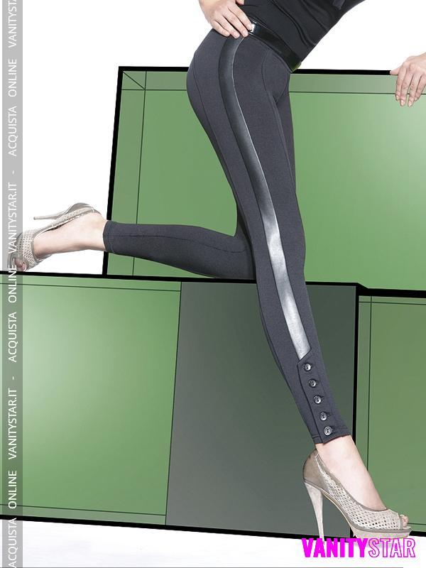Leggings con fascia lucida e bottoni Jessica