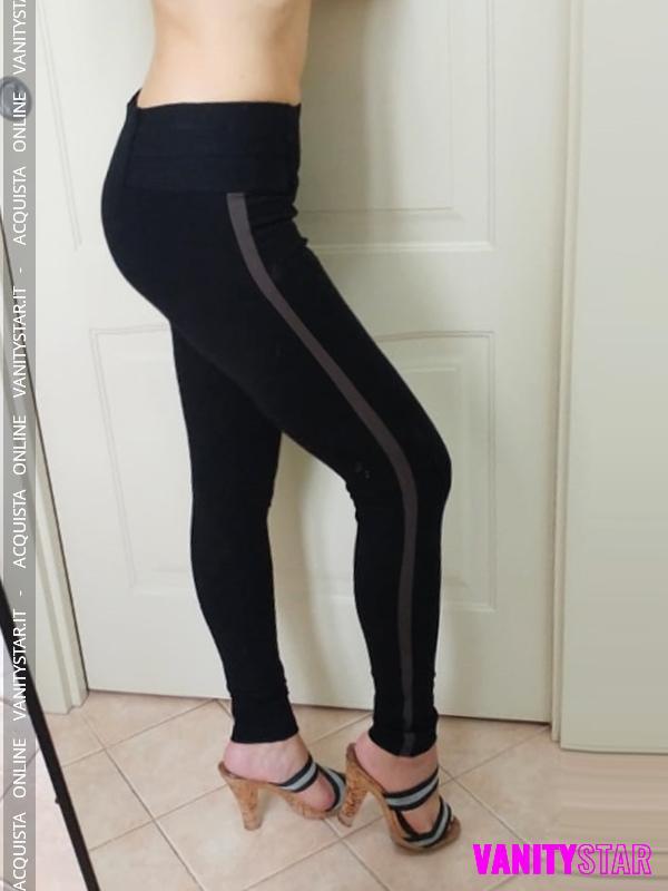 Leggings con riga marrone laterale Sport 1