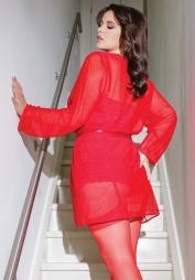 Vestaglia trasparente maniche lunghe Ryana Red