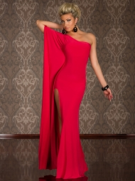 Abito elegante lungo monospalla Kasia Red