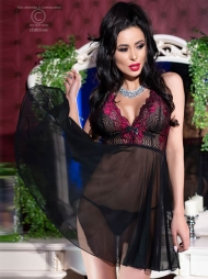 Babydoll con coppe in pizzo Goyna Pink