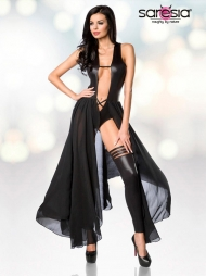 Body con gonna in tulle e calze Shady Black