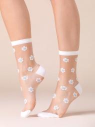Calzine corte con fiori Daisy Blu