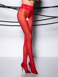 Collant aperto velato pizzo in vita 008 Red