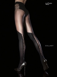 Collant con calze e slip disegnati Darya Black