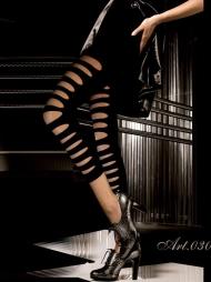 Leggings a vita bassa con intagli 030 Black