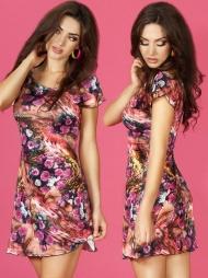 Mini abito floreale svasato Rosea Pink