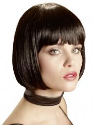 Parrucca nera liscia con frangia Valentia