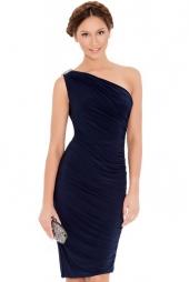 Elegante abito monospalla con gioiello Duchessa Navy