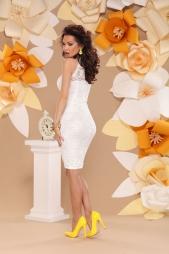 Elegante abito pizzo bianco girocollo Eleonora