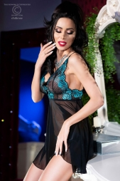 Babydoll con coppe in pizzo Goyna Blu