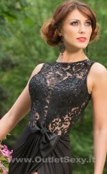 Elegante abito lungo con spacco Heaven Black