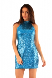 Abito corto girocollo in paillettes Jaclyn Teal