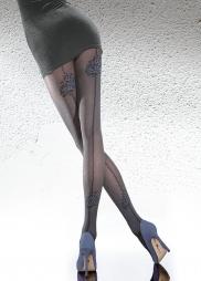 Collant con riga posteriore e rose Meria Black