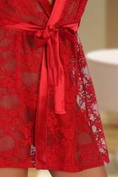 Vestaglia in pizzo profili in raso Paulette Red