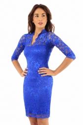 Elegante abito in pizzo Poppy Royal Blu