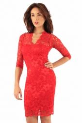 Elegante abito in pizzo Poppy Red