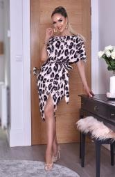 Abito leopardato con spacco Portia