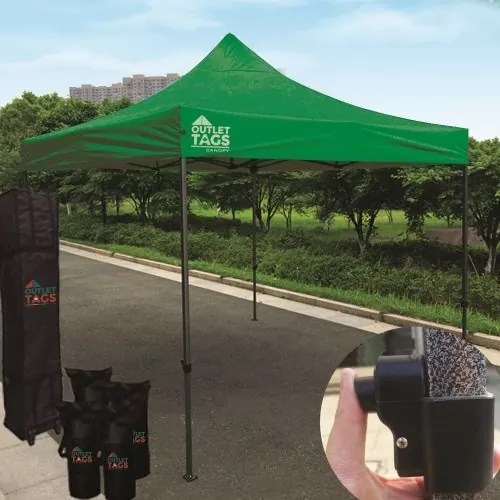 10x10 Iron Horse Canopy - Salt & Pepper Frame - Medium Quality - Emerald Green