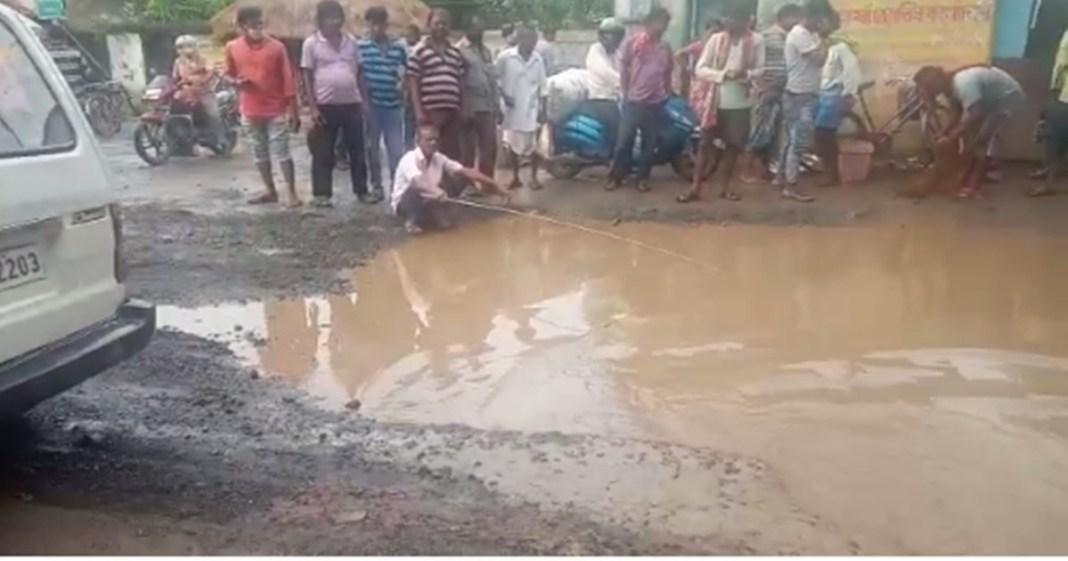 poor road conditions at Suri Brahmapur in Birbhum district