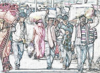 migrant workers on road outline