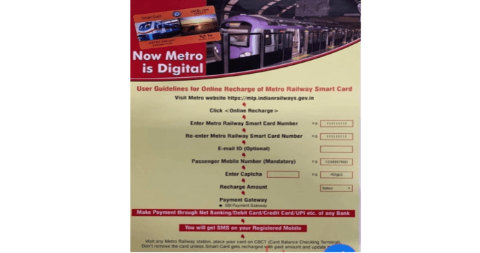 user guidelines for online recharge of metro railway smart card