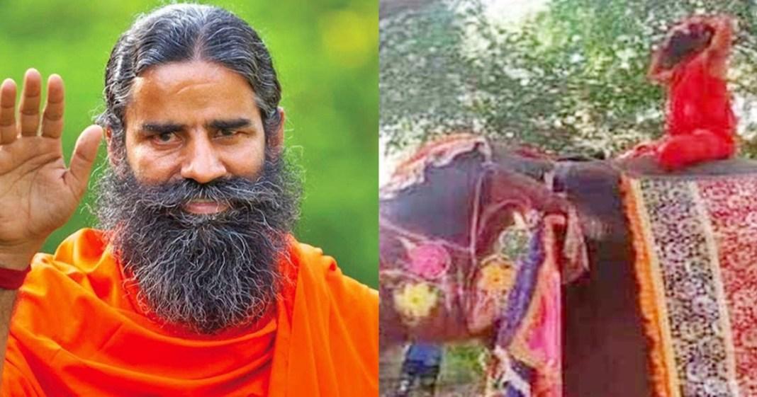 Baba Ramdev does yoga on elephant, falls off