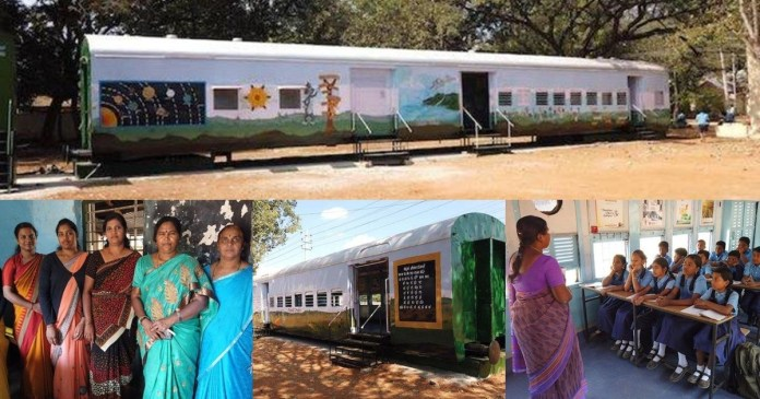 School classrooms made from abandoned train carriages