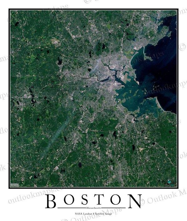 Boston MA Area Satellite Map Print Aerial Image Poster
